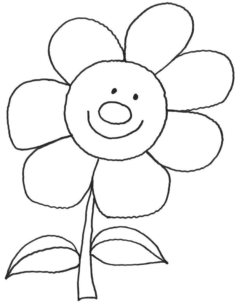 Ausmalbild Natur: Lachende Sonnenblume kostenlos ausdrucken