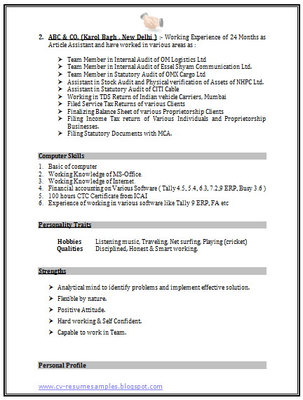 resume format for tally erp 9 format resume tally