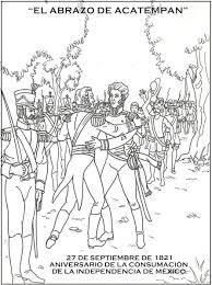 Abrazo De Acatempan Dibujos De La Independencia Dibujos Independencia Mexicana