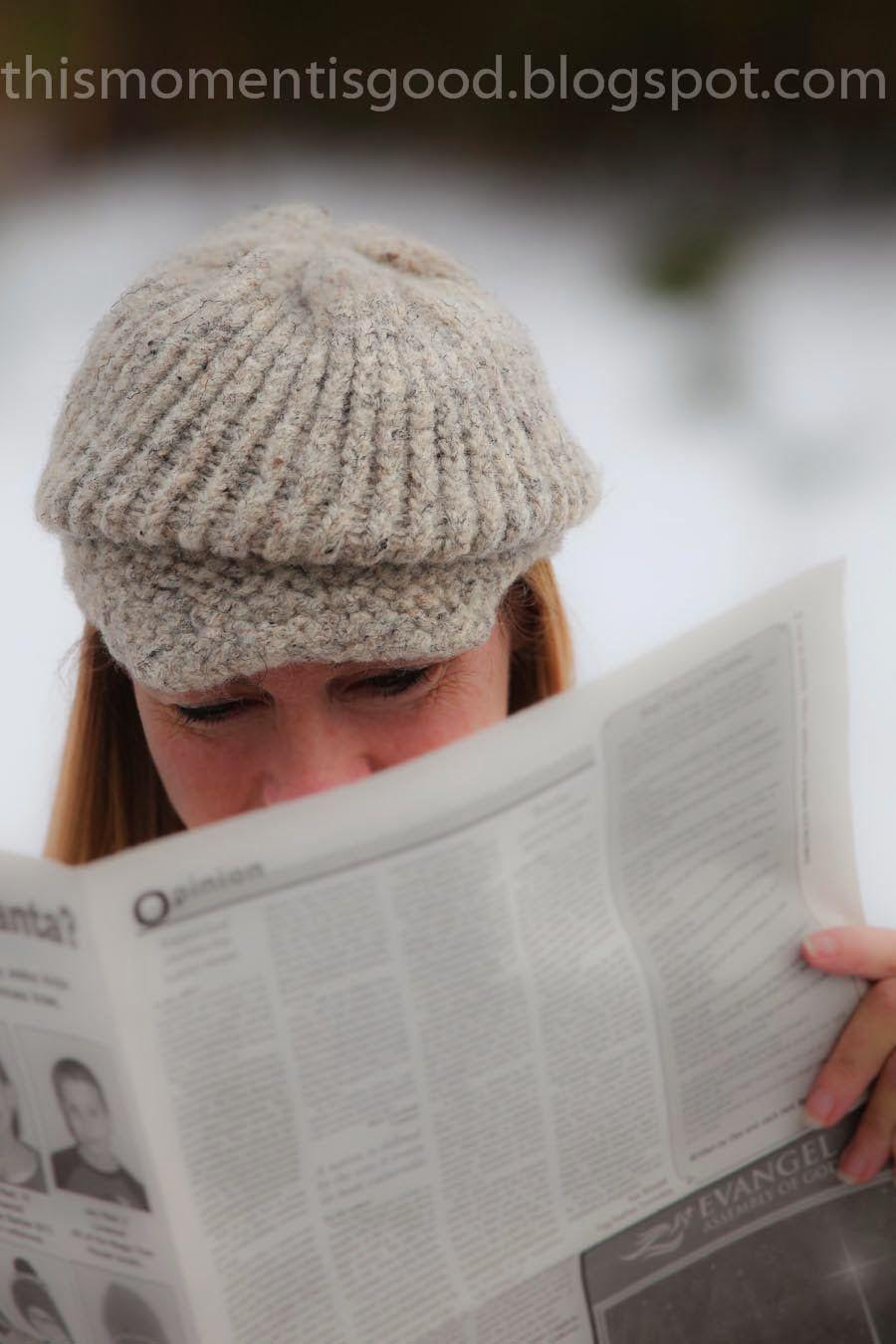 LOOM KNIT FELTED NEWSBOY HAT | Strickring, Strickliesel und Stricken