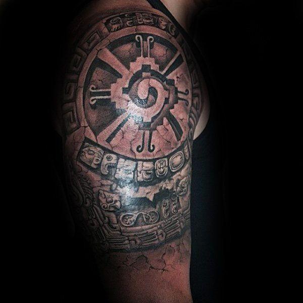 male with mayan hunab ku half sleeve 3d tattoo dope pinterest 3d tattoos mayan tattoos. Black Bedroom Furniture Sets. Home Design Ideas