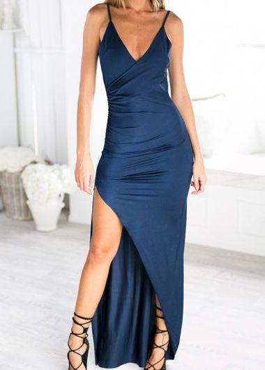 aeb6045a84eb Navy Blue Deep V Neck Side Slit Maxi Dress