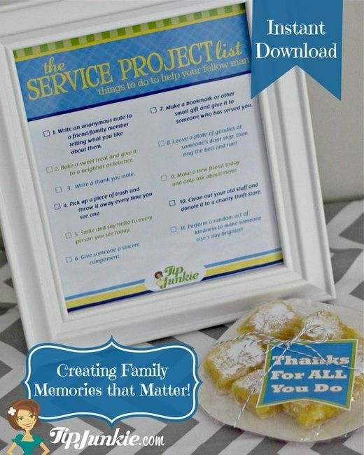 The Service Project List for Kids {free printable} Service - project list