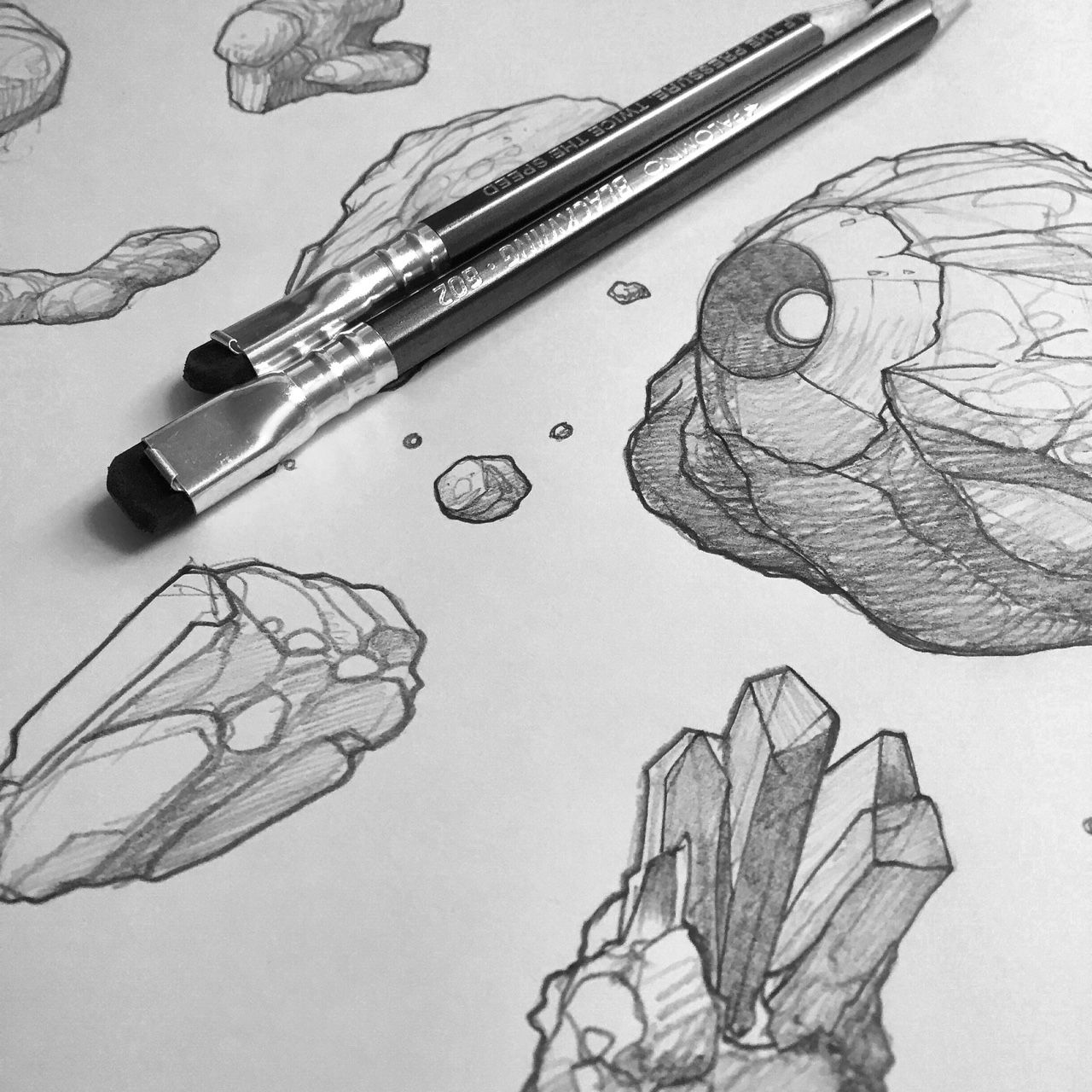 "thisnorthernboy: ""Sketching rocks and asteroids. Nice little warm-up for the day. Drawing rocks is always fun. """