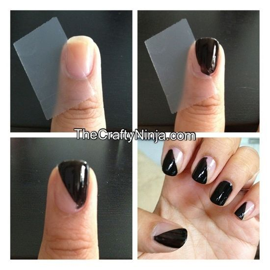 A Simple Diagonal Nails With Scotch Tape 12 Amazing Diy Nail Art