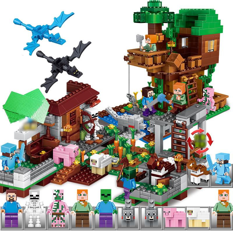 Minecraft Lego Compatible Village Tree House Building Block Toys Mini Figures 988pcs Set A0001 Minecraft In 2021 Minecraft Toys Lego Minecraft Building Blocks Toys