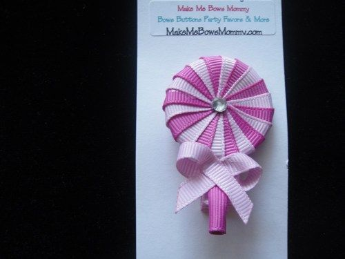 Lollipop 2 tone pink ribbon sculpture boutique hair clip , hair bow | bowsandbling2 - Children's on ArtFire