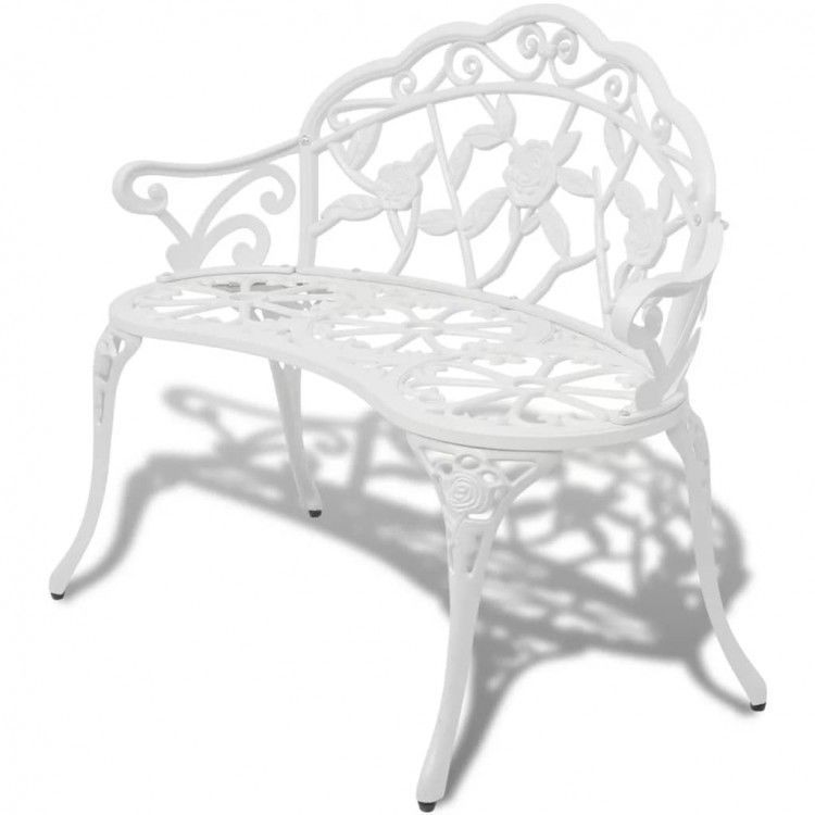 Details about Garden Bench White Chairs Cast Aluminum Cathedra Outdoor Seat Armrest Furniture