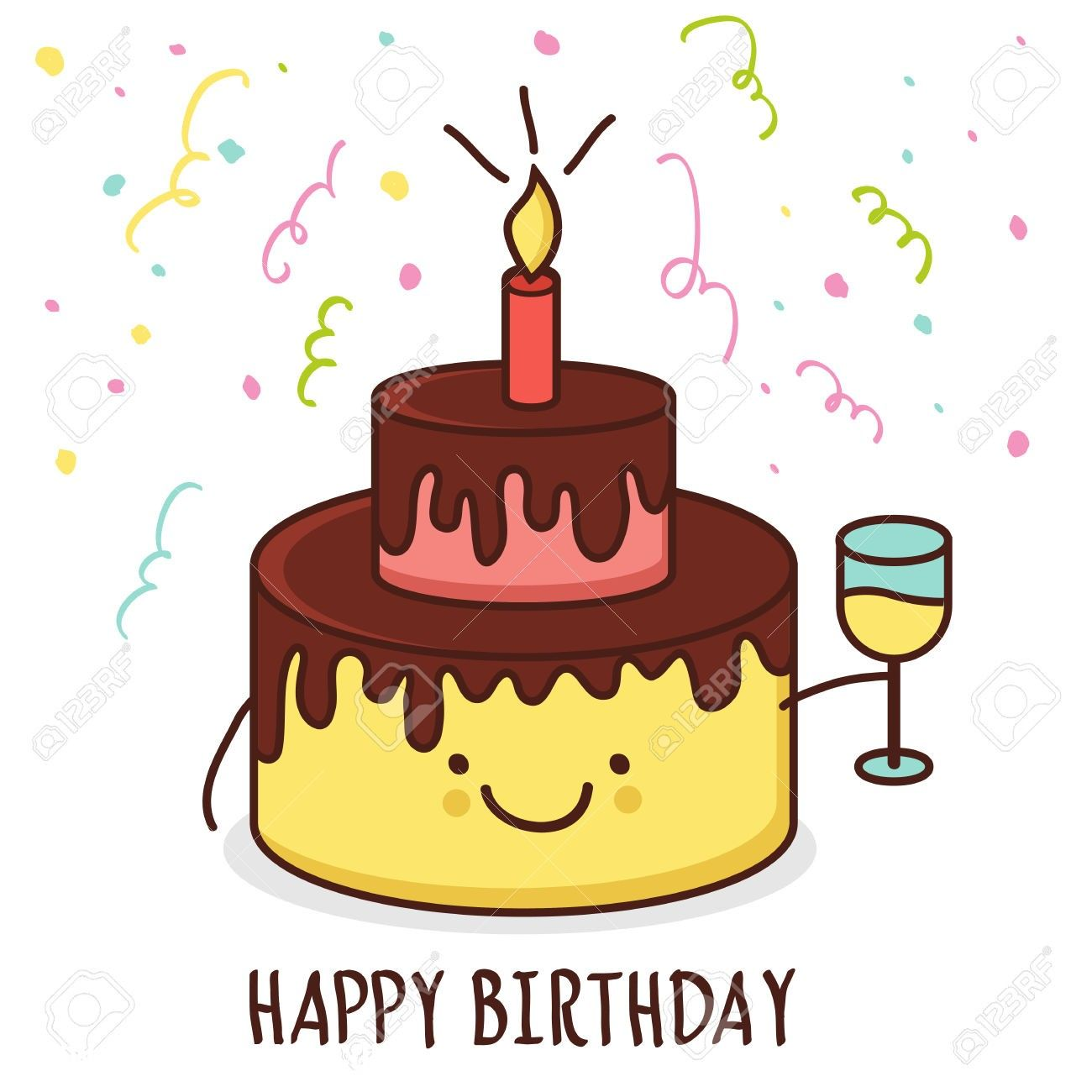 Cartoon Happy Birthday Cake Pics Auto Soletcshat Image Otomotif Cartoon Birthday Cake Happy Birthday Greeting Card Cool Birthday Cakes