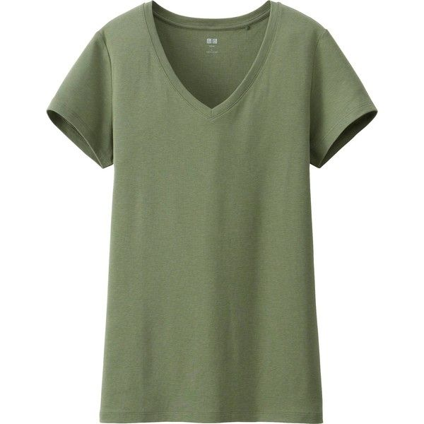 UNIQLO Women Supima Cotton Modal V-Neck Short Sleeve T (17 CAD) ❤ liked on Polyvore featuring tops, t-shirts, shirts, short sleeve, green v neck shirt, short sleeve cotton shirts, cotton shirts, short sleeve shirts and green tee
