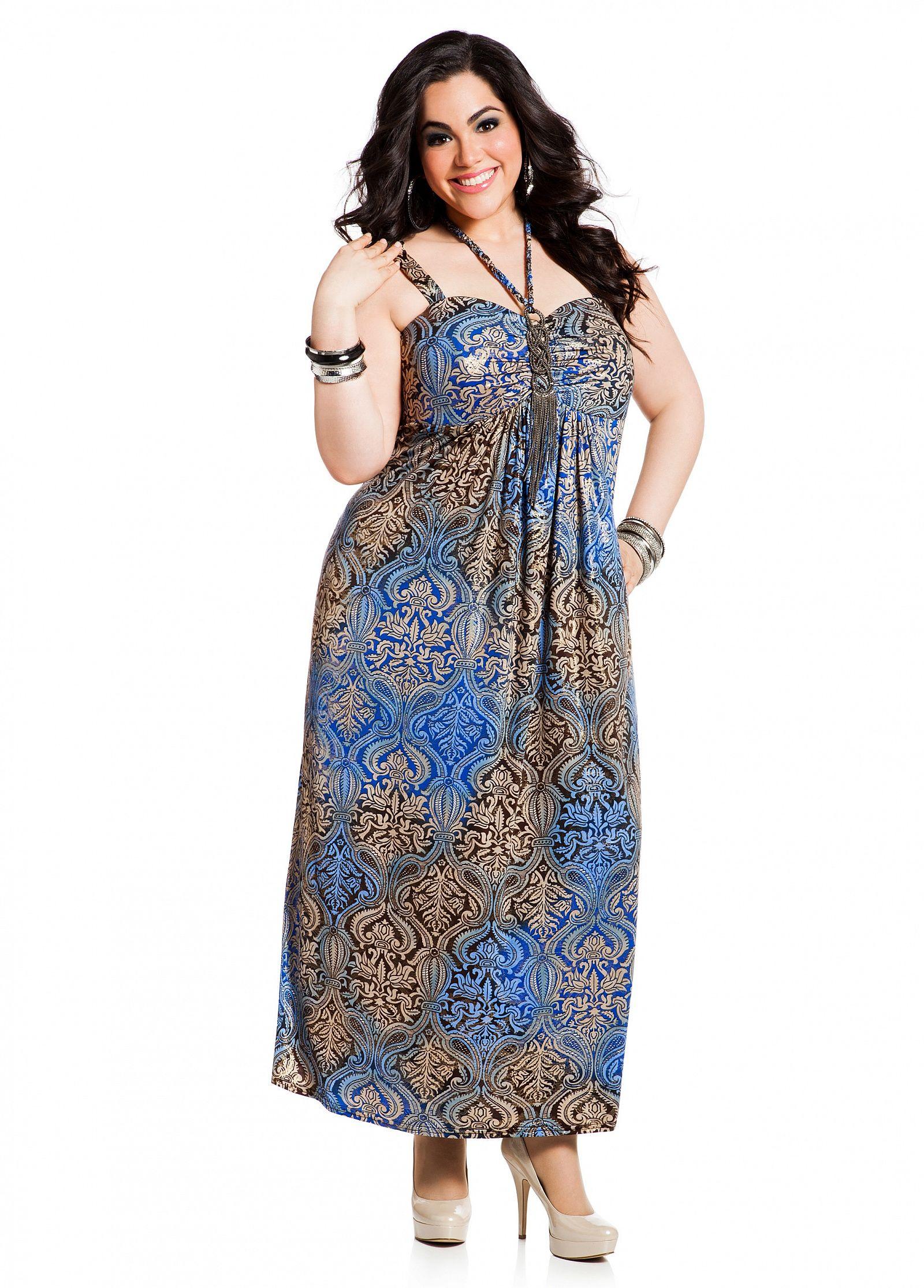 Ashley Stewart Web Exclusive Foil Yoryubatik Print Maxi Dress Plus Size Maxi Dresses Plus Size Outfits Dresses [ 2230 x 1600 Pixel ]