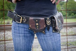 Two toned steampunk Leather Hip Belt Bag