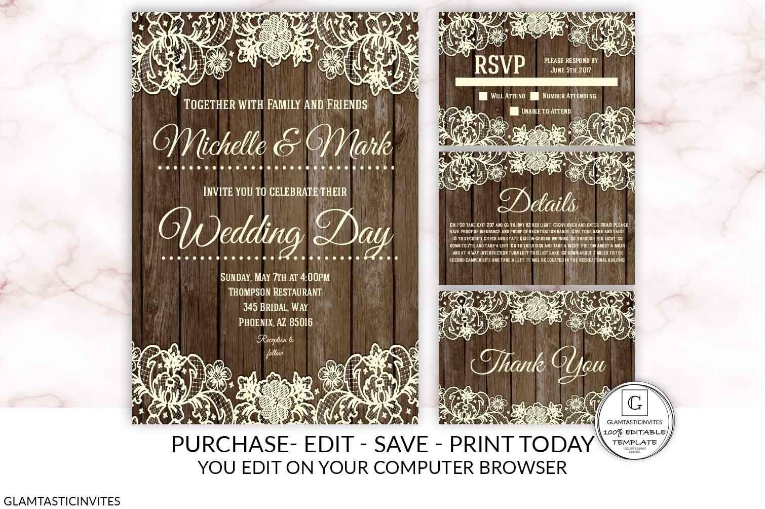 Lace Rustic Wood Wedding Invitation Kit Editable Printable Etsy Rustic Wood Wedding Invitations Wood Wedding Invitations Wedding Invitation Kits