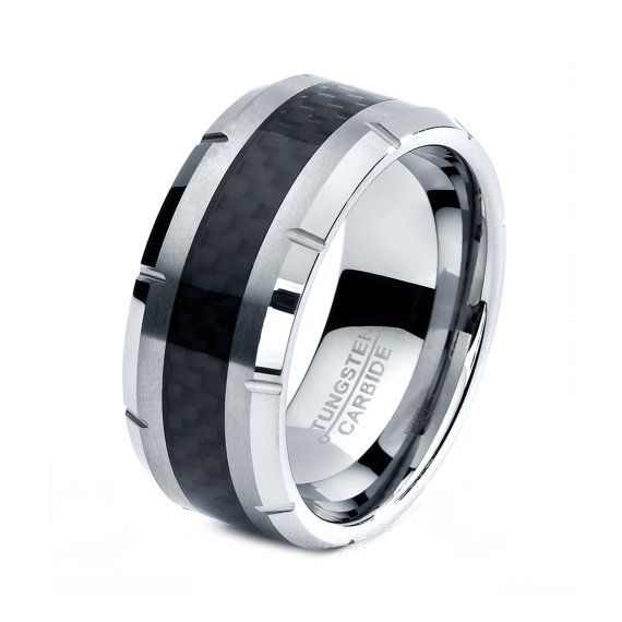 Mens Tungsten Carbide Wedding Band Ring 10mm 5 15 Half Sizes Black Carbon Fiber Inlay Cust Mens Wedding Rings Tungsten Black Tungsten Rings Tungsten Mens Rings