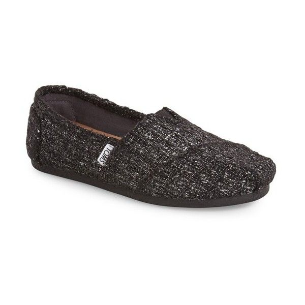 Women's Toms 'Classic - Glitter' Slip On ($59) ❤ liked on Polyvore featuring shoes, flats, black wool, polish shoes, black glitter flats, shiny shoes, kohl shoes and black slip on flats