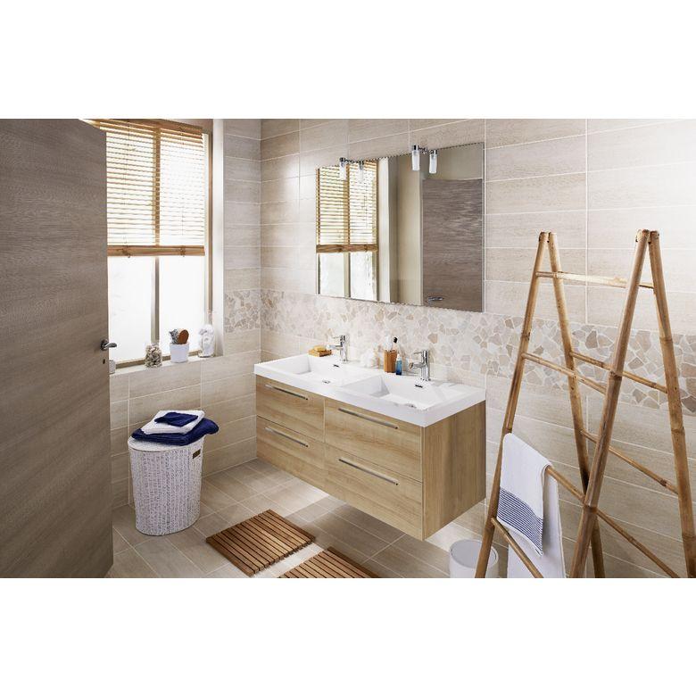 Ensemble meuble de salle de bains plan résine sans robinetterie L - Meuble De Salle De Bain Sans Vasque