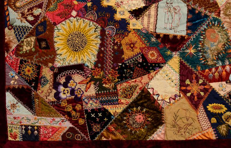Resultado de imagem para como bordar o crazy quilt