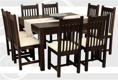 Mesa cuadrada madera masisa mobilia 8 sillas x 1 for Mesas cuadradas para comedor