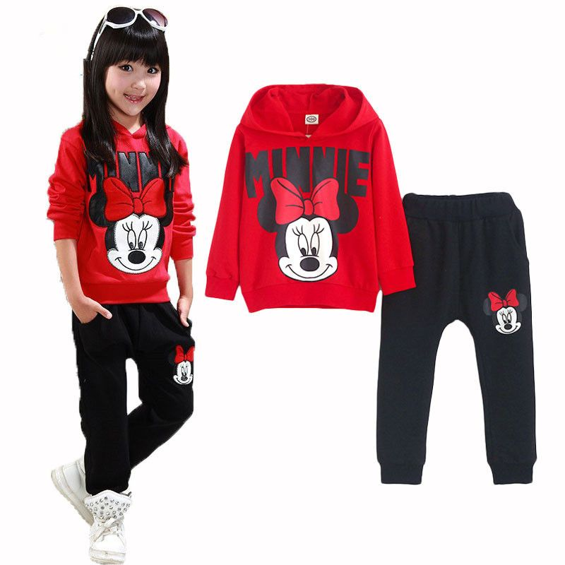 d5fd927bb Cartoon Minnie Mouse Set de Ropa de Niños Niñas Chándal de Otoño y Deporte  de invierno Traje de Manga Larga de la Muchacha Cabritos de la Ropa de  Deportes ...