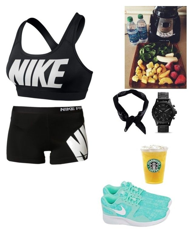 """Just jogged to starbucks"" by swaggedoutsyd ❤ liked on Polyvore featuring NIKE and Boohoo"