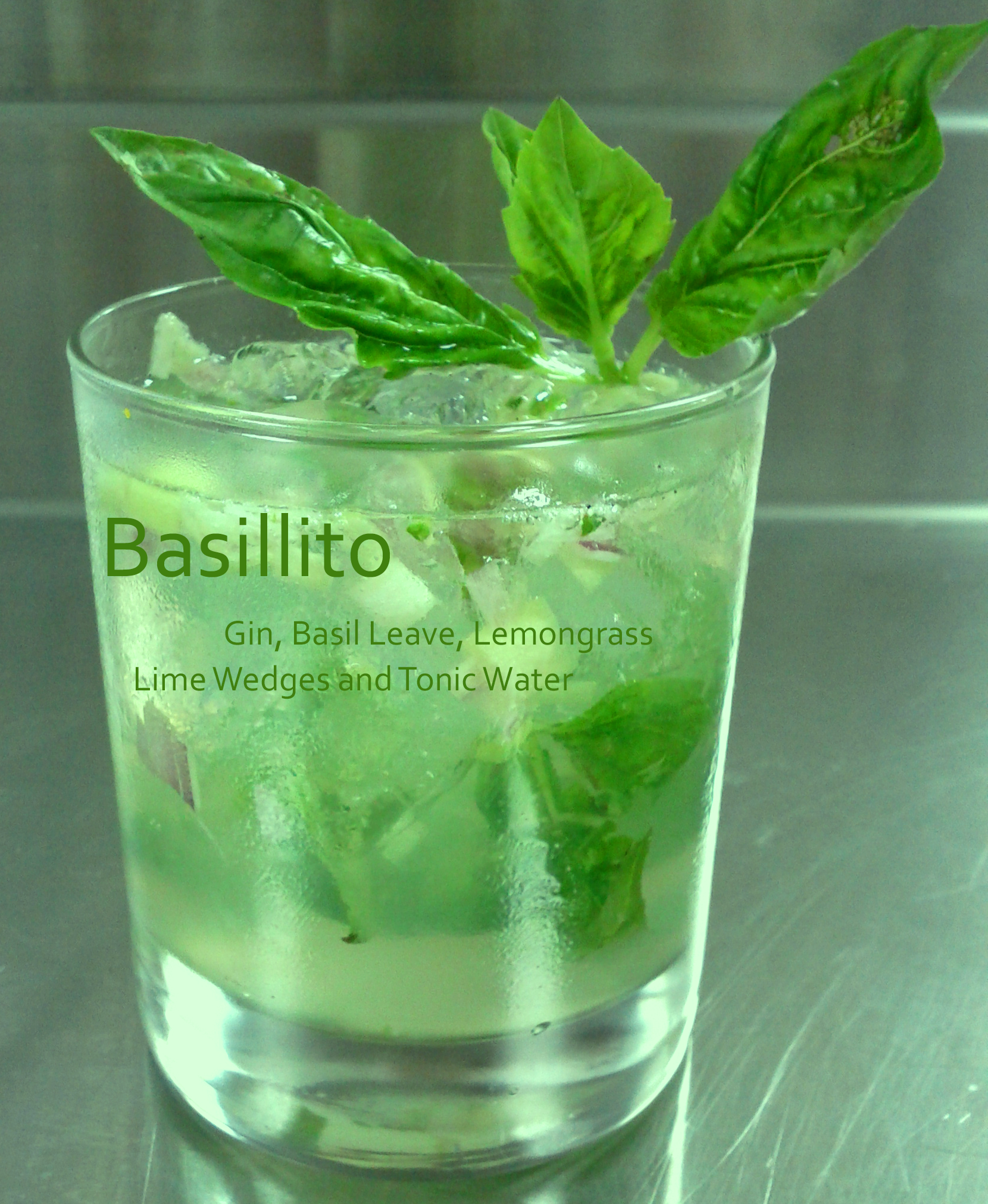combine of gin, basil, lemon grass, lemon and tonic