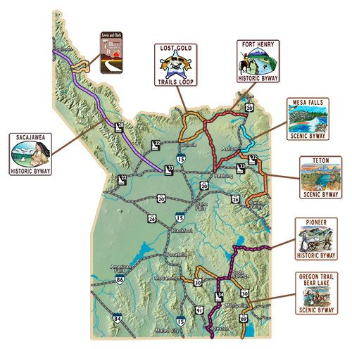 idaho scenic byways map Eastern Idaho Byways Map Idaho S Scenic Byways Outdoor Idaho idaho scenic byways map