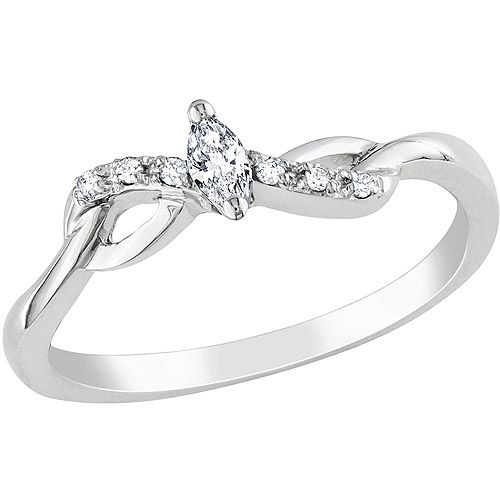 Marquise and Round-Cut Diamond-Accent White Gold Promise Ring
