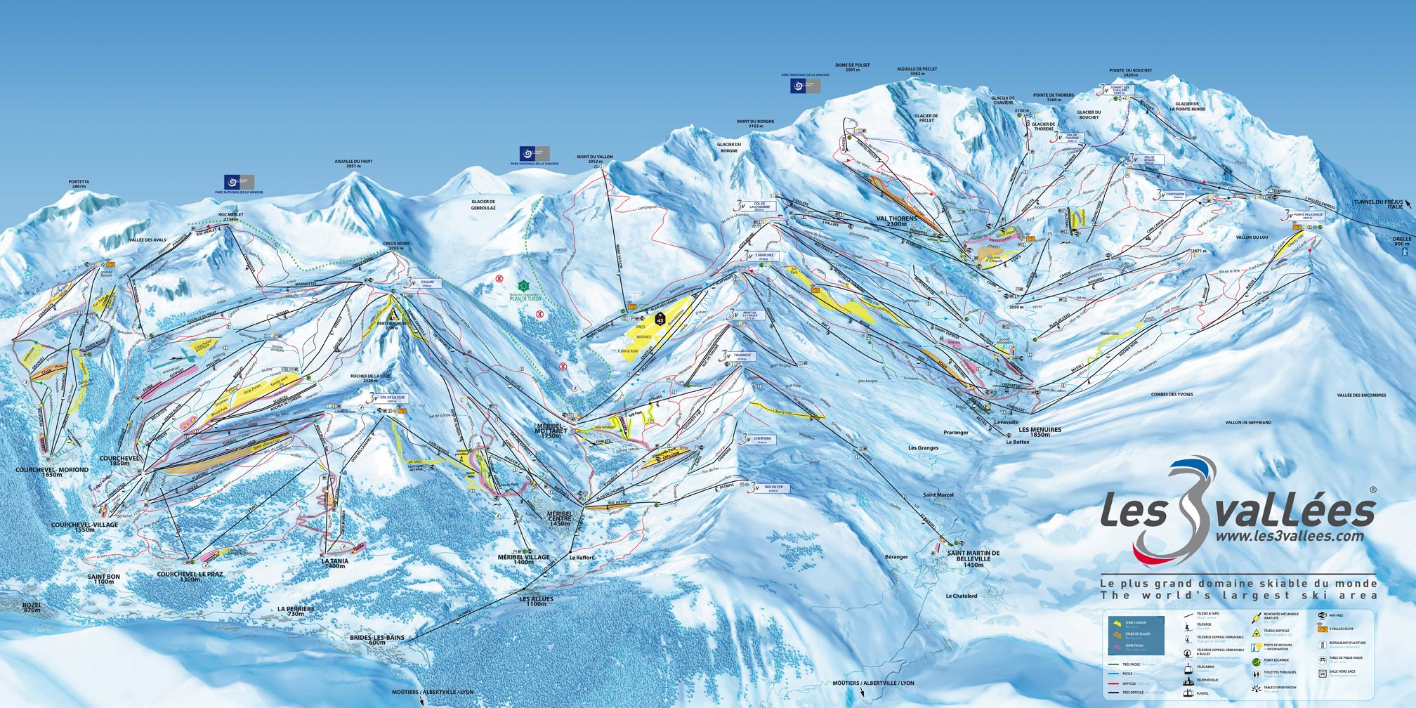 Three Valleys Piste Map Canvas Print Trois Vallees Skiing Map