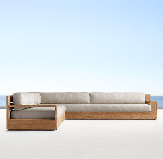 Marbella Teak Luxe Left Arm L Sectional With Images Wooden Sofa Designs Living Room Sofa Design Sofa Set Designs