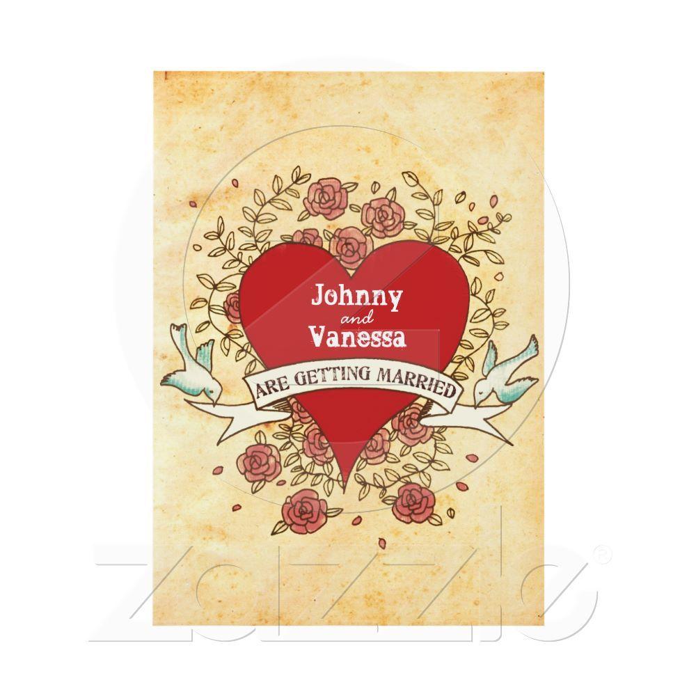 Bohemian Heart, Roses, Birds, & Banner Wedding Card   Rock n roll ...