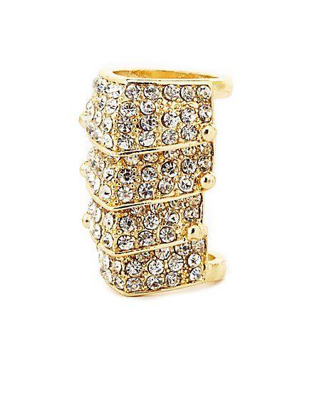 Four-Panel Rhinestone Armor Ring: Charlotte Russe #charlotterusse #charlottelook #rhinestone #ring