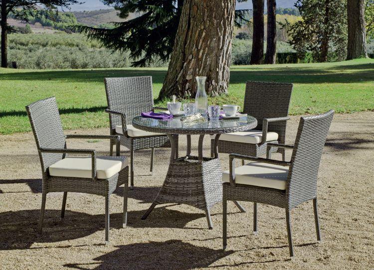 Set mesa de comedor para exteriores MALI 90 - Mesa de comedor con ...