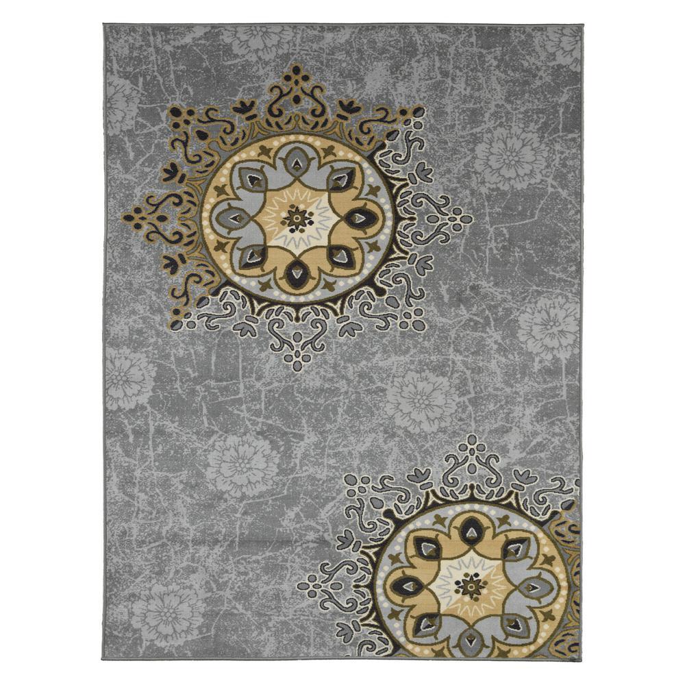 Ottomanson Studio Collection Medallion Design Grey 3 Ft X 5 Ft