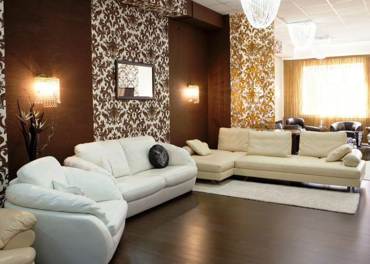 Eine braune Wandgestaltung im Wohnzimmer schaffen Wohnzimmer 2019 - wohnzimmer ideen braune couch