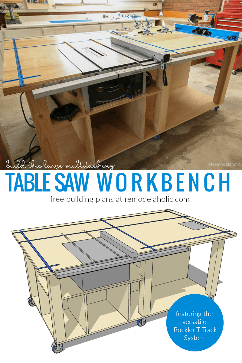 diy table saw workbench featuring rockler t track system free rh pinterest com