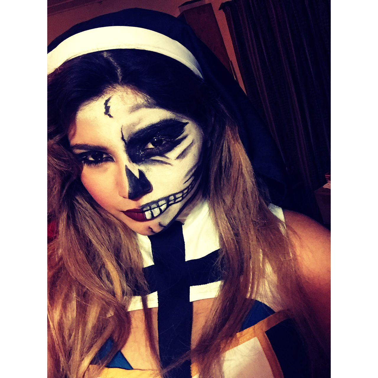 Halloween nun, skull bad habit. Halloween face makeup