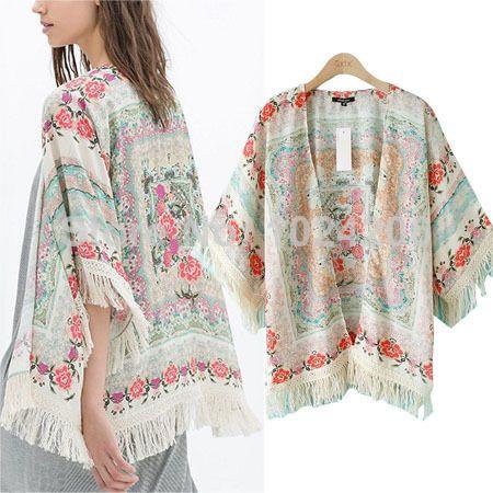 fashion women Spain style chiffon kimono cardigan tassel Regular Floral print blouse/mujer ropa camisas femininas blusas  shawl $19.79