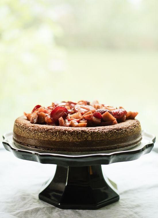 Strawberry-rhubarb almond cake - cookieandkate.com