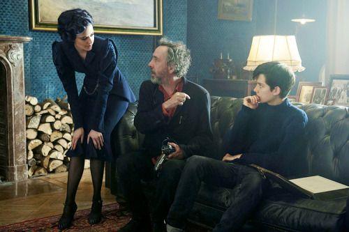 "lovezucks: "" Tim Burton, Eva Green and Asa Butterfield on the set of Miss Peregrine's Home for Peculiar Children """