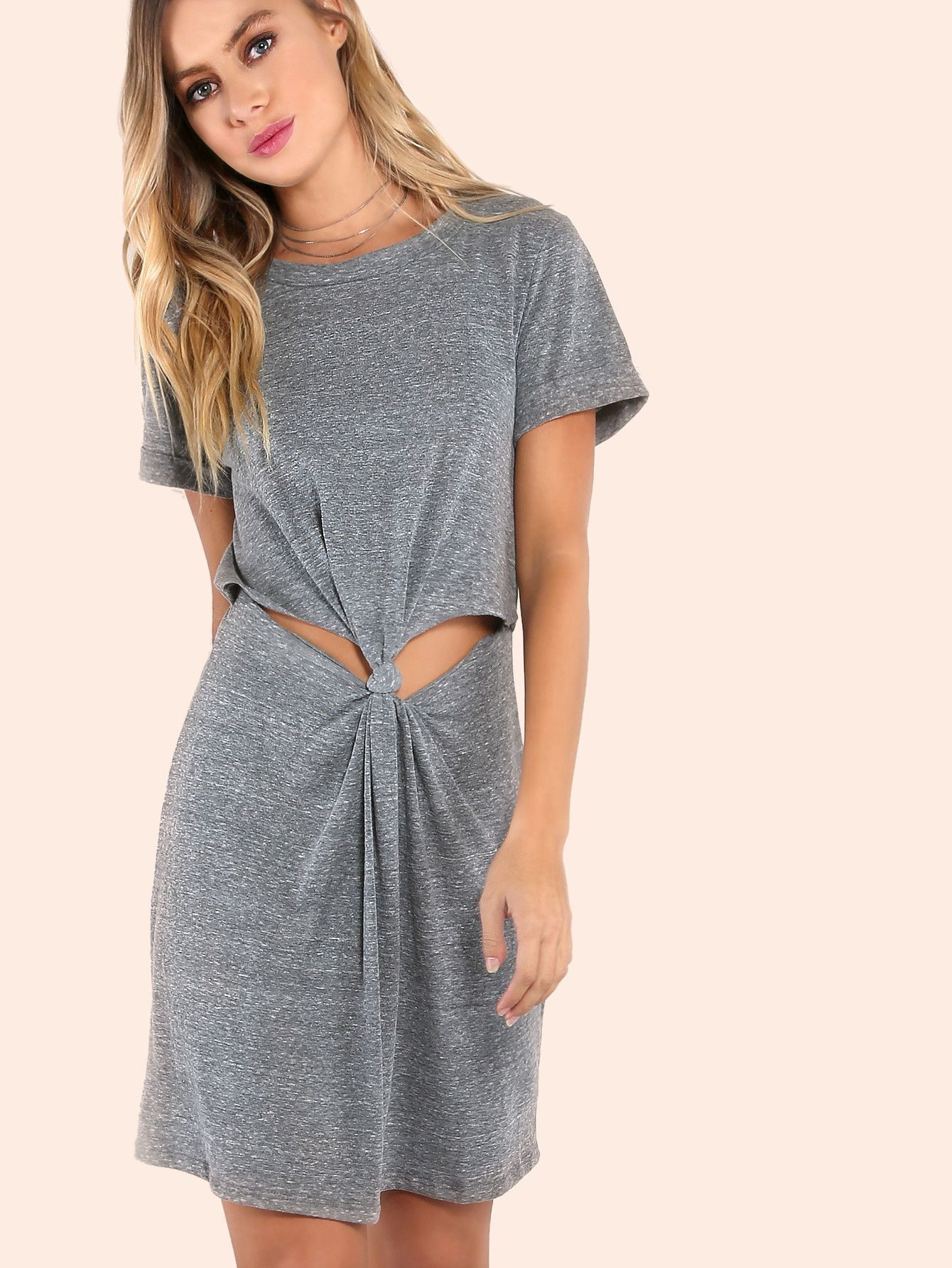 Cuffed sleeve knotted peakaboo dress grey shorts grey and products