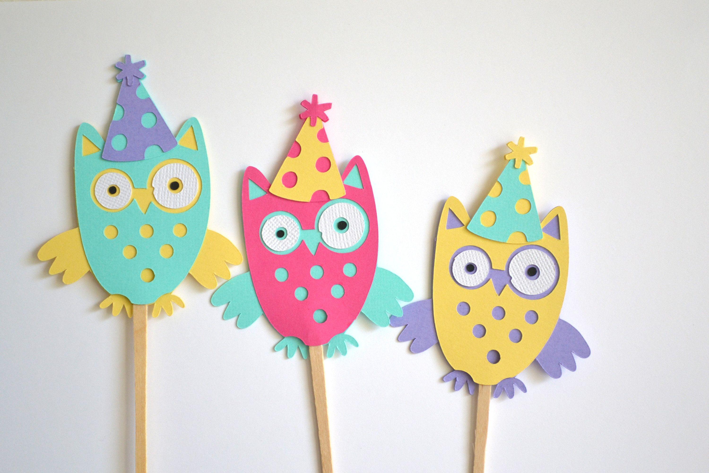 Groovy 12 Owl Birthday Cake Toppers Owl Cake Birthday Birthday Cake Personalised Birthday Cards Akebfashionlily Jamesorg