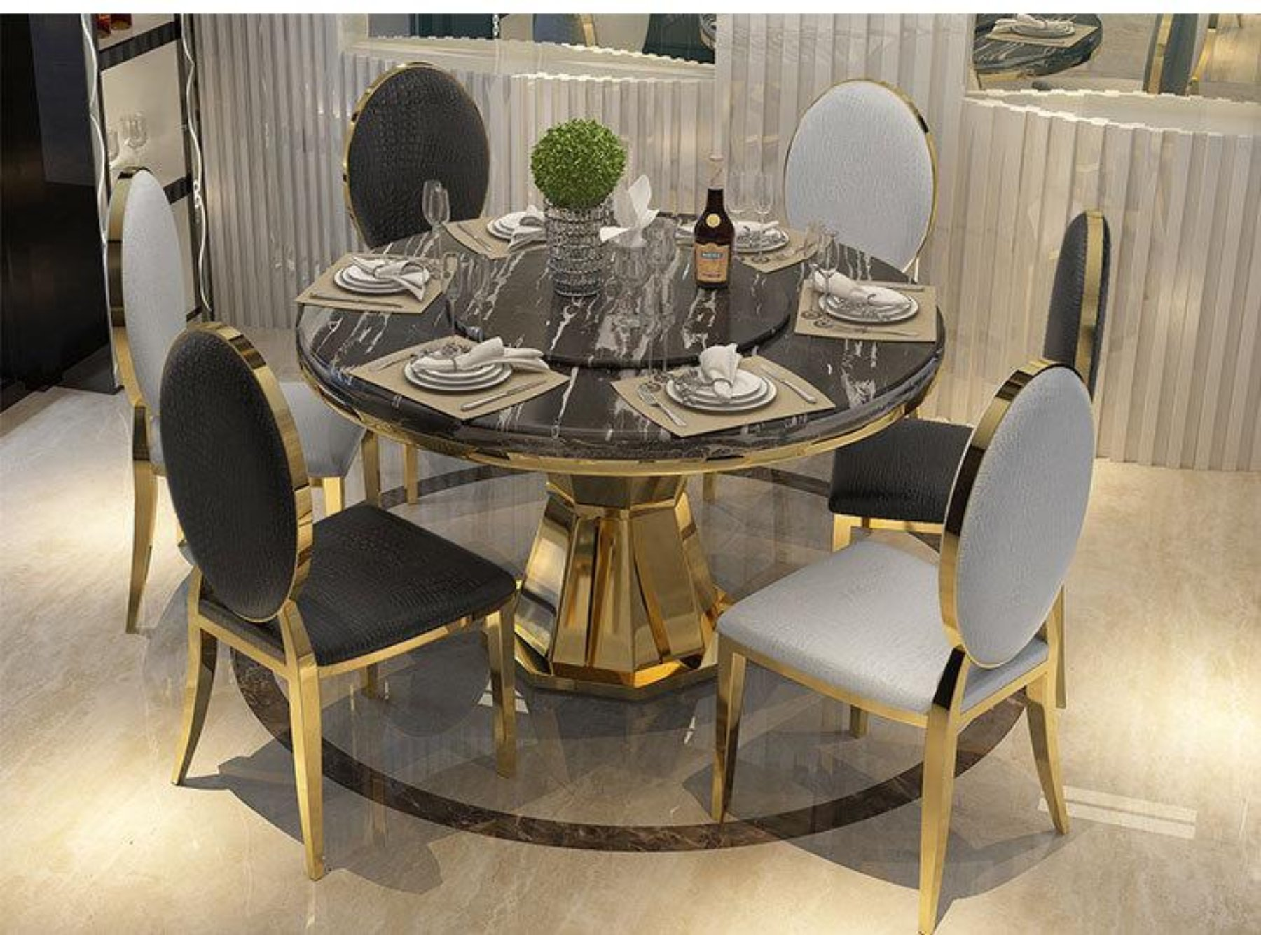 Golden Round Marble Top Dining Table With Luxury Chairs Marble