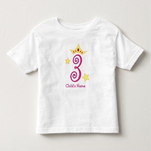 Happy 3rd Birthday Princess Toddler T Shirt