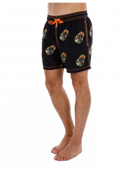 6d52e68ab8 Applique skull on black short swim trunks for the men. Only from Les  Canebiers,