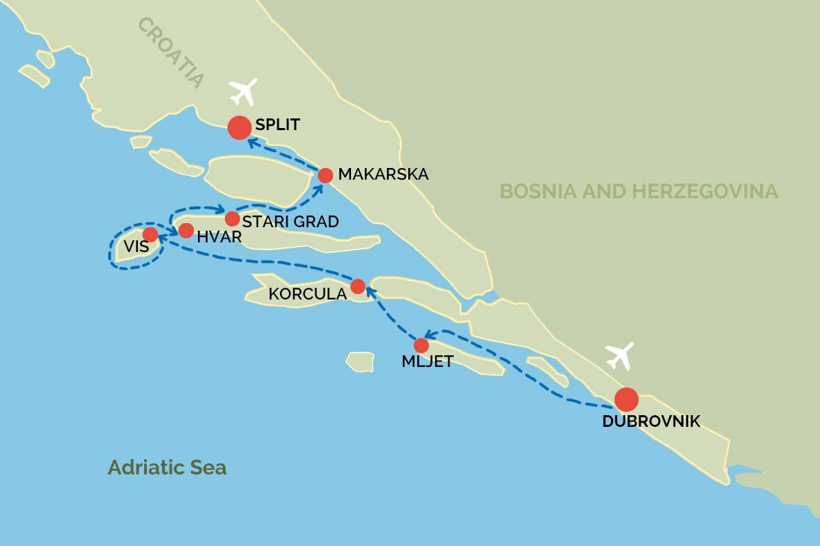 Explorer One Way Dubrovnik To Split Sail Croatia Map In