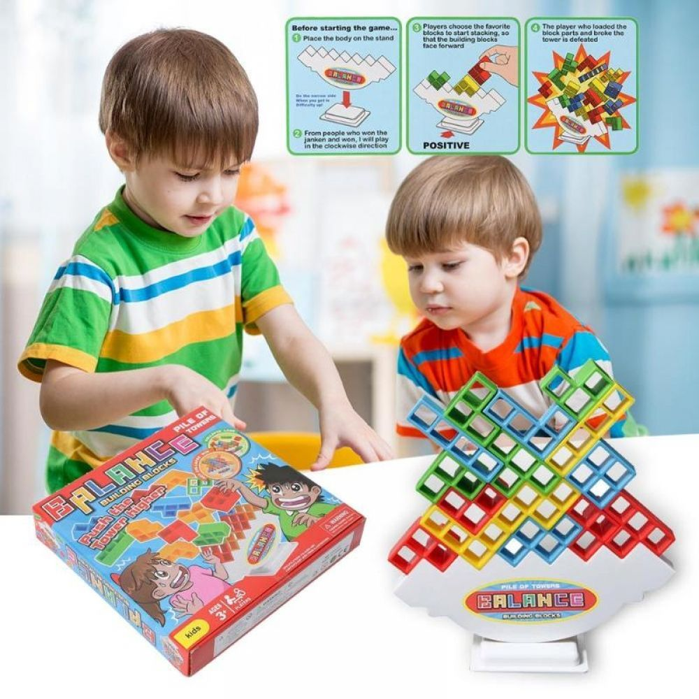 Children Wooden Stacking Blocks Toy Kids Baby Wood Building Blocks Cartoon Interactive Balance Sorting Educational Toy Game