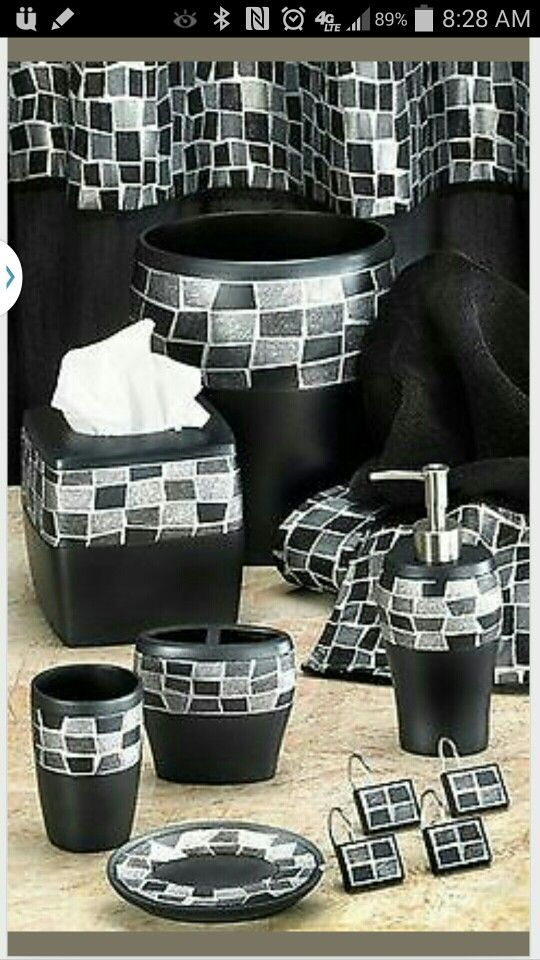 Sold Black Mosaic bathroom Accessories  Items Pinterest