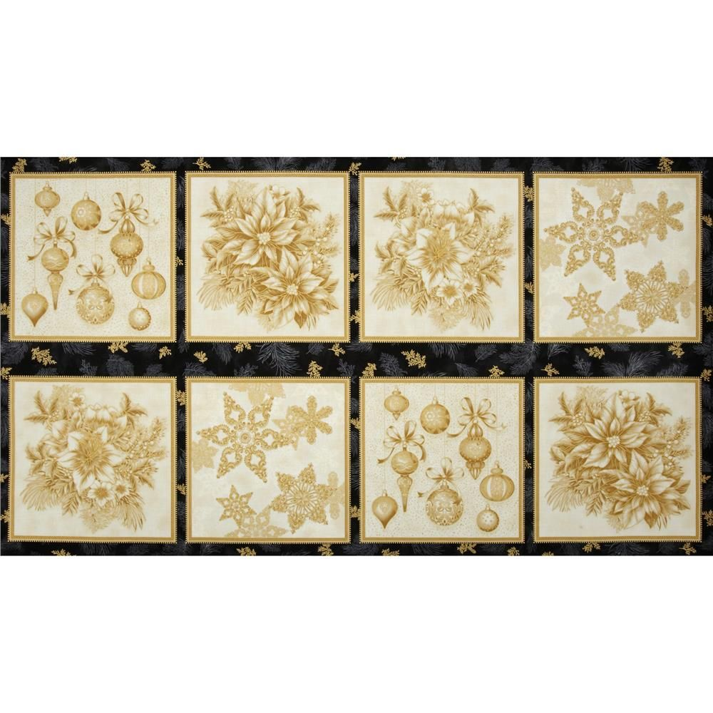 """Holiday Flourish Metallic Large Blocks Panel Antique Cream from @fabricdotcom  Designed by Peggy Toole for Robert Kaufman, this cotton print fabric panel measures approximately 24"""" x 44"""". Each block is about 10"""" square. Colors include cream, gold and black. Features gold metallic accents throughout."""