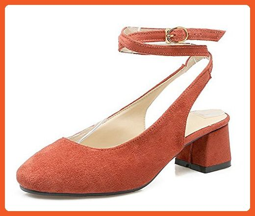 d9329d587a80 Sfnld Women s Elegant Square Toe Low Cut Cross Strap Medium Block Heels  Sandals Orange 8.5 B