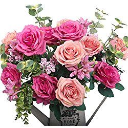 Artificial flowers, European artificial roses, silk rose for decorating, silk flower for Valentine's Day Gift (Pink)